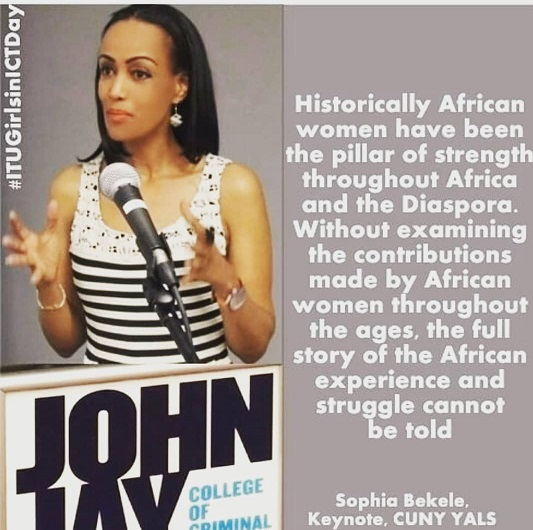 Sophia Bekele speaking on women and their strength